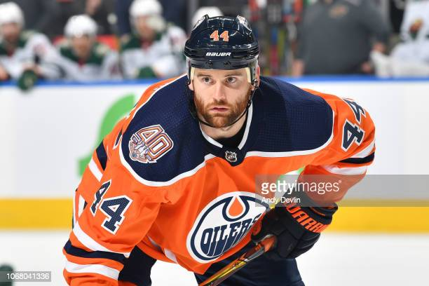 Zack Kassian of the Edmonton Oilers lines up for a face off during the game against the Minnesota Wild on October 30 2018 at Rogers Place in Edmonton...