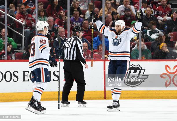 Zack Kassian of the Edmonton Oilers reacts following the goal by teammate Matt Benning against the Arizona Coyotes during the second period at Gila...