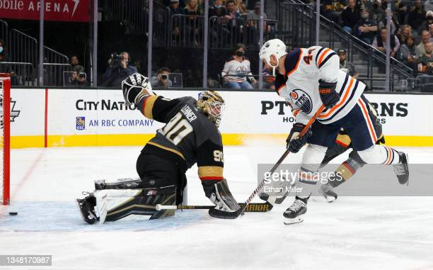 Zack Kassian of the Edmonton Oilers scores a goal against Robin Lehner of the Vegas Golden Knights in the third period of their game at T-Mobile...
