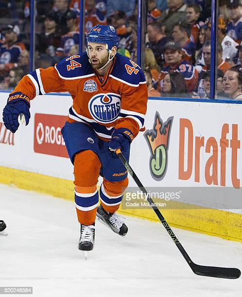 Zack Kassian of the Edmonton Oilers skates against the Vancouver Canucks on April 6 2016 at Rexall Place in Edmonton Alberta Canada The game was the...
