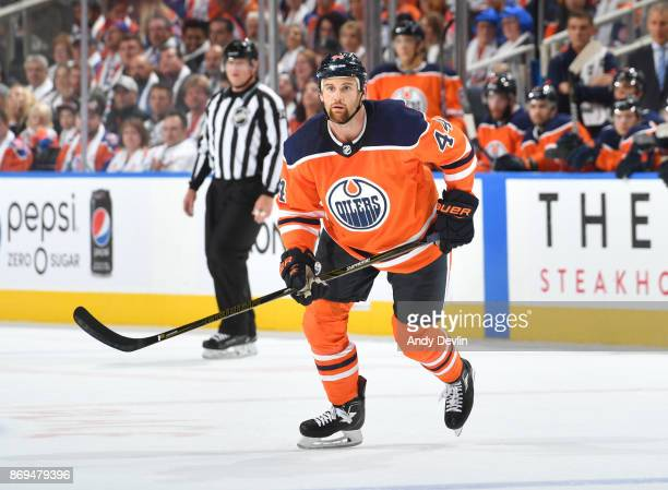 Zack Kassian of the Edmonton Oilers skates during the game against the Calgary Flames on October 4 2017 at Rogers Place in Edmonton Alberta Canada