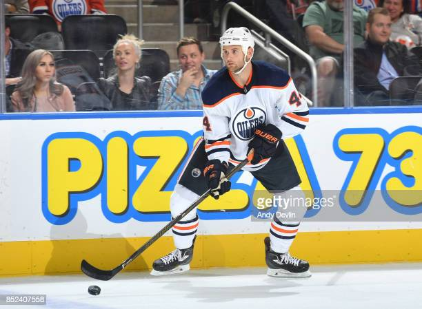 Zack Kassian of the Edmonton Oilers skates during the preseason game against the Calgary Flames on September 18 2017 at Rogers Place in Edmonton...