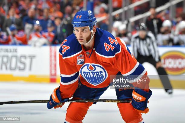 Zack Kassian of the Edmonton Oilers skates in Game Three of the Western Conference Second Round during the 2017 NHL Stanley Cup Playoffs against the...