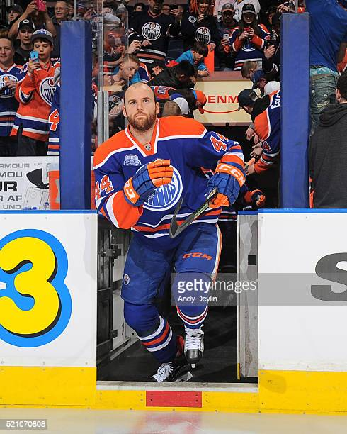 Zack Kassian of the Edmonton Oilers steps onto the ice prior to a game against the Anaheim Ducks on March 28 2016 at Rexall Place in Edmonton Alberta...