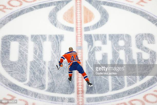 Zack Kassian of the Edmonton Oilers warms up against the San Jose Sharks in Game Two of the Western Conference First Round during the 2017 NHL...