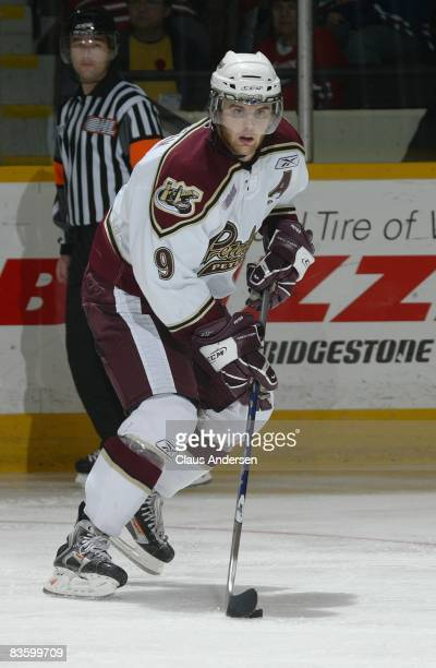 Zack Kassian of the Peterborough Petes skates in a game against the Oshawa Generals on November 6 2008 at the Peterborough Memorial Centre in...