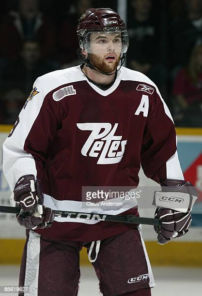 Zack Kassian of the Peterborough Petes skates in the 3rd game of the opening round eastern conference series against the Brampton Battalion on March...