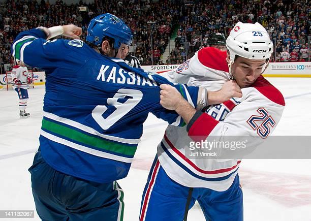 Zack Kassian of the Vancouver Canucks and Brad Staubitz of the Montreal Canadiens trade punches during their NHL game at Rogers Arena March 10 2012...