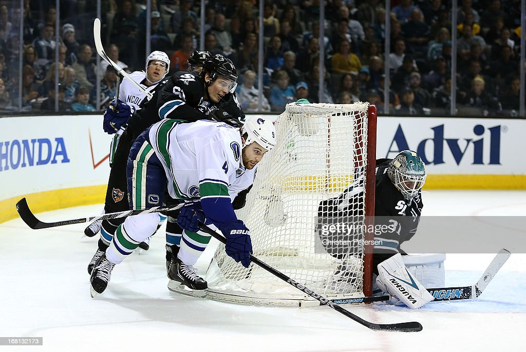Zack Kassian #9 of the Vancouver Canucks attempts a wrap around shot on goaltender Antti Niemi #31 of the San Jose Sharks in the first period of Game Three of the Western Conference Quarterfinals during the 2013 NHL Stanley Cup Playoffs at HP Pavilion on May 5, 2013 in San Jose, California.