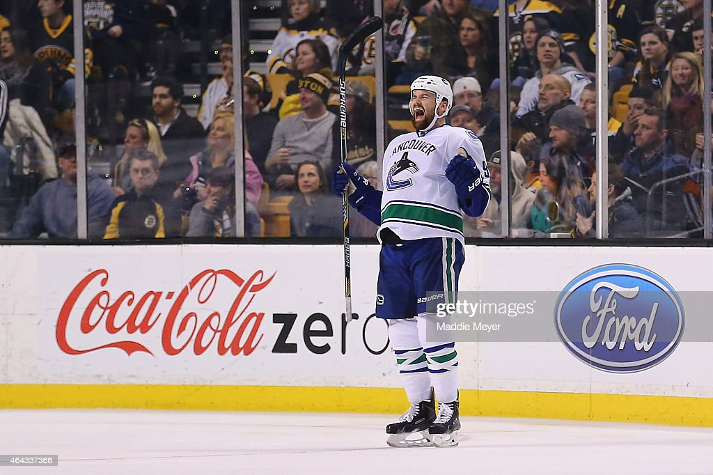 Zack Kassian #9 of the Vancouver Canucks celebrates after scoring a goal against the Boston Bruins during the third period at TD Garden on February 24, 2015 in Boston, Massachusetts. The Canucks defeat the Bruins 2-1.