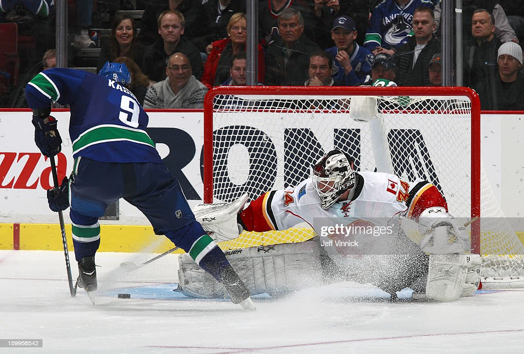 Zack Kassian #9 of the Vancouver Canucks goes to his backhand to beat Miikka Kiprusoff #34 of the Calgary Flames for the shootout-winning goal during their NHL game at Rogers Arena January 23, 2013 in Vancouver, British Columbia, Canada. Vancouver won 3-2 in a shootout.