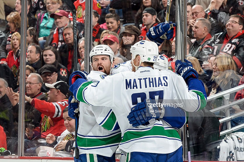 Zack Kassian #9 of the Vancouver Canucks reacts after scoring against the Chicago Blackhawks in the second period during the NHL game at the United Center on February 11, 2015 in Chicago, Illinois.
