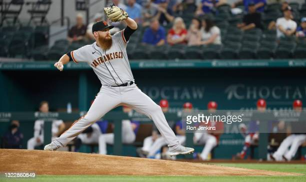 Zack Littell of the San Francisco Giants delivers against the Texas Rangers during the first inning at Globe Life Field on June 9, 2021 in Arlington,...