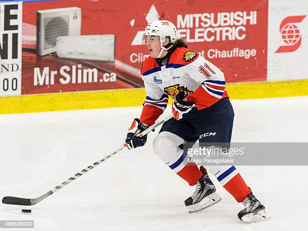 Zack Macewen of the Moncton Wildcats skates with the puck during the QMJHL game against the Blainville-Boisbriand Armada at the Centre d'Excellence...