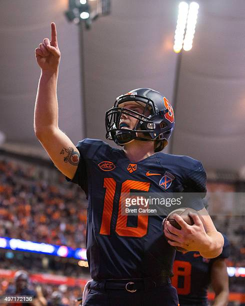 Zack Mahoney of the Syracuse Orange celebrates a second half touchdown run against the Clemson Tigers on November 14 2015 at The Carrier Dome in...