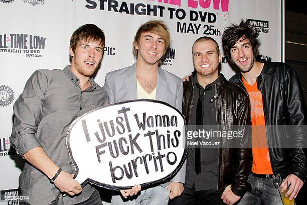 Zack Merrick Alex Gaska Rian Dawson and Jack Barakak of All Time Low attend the screening and release party for All Time Low's 'Straight To DVD' at...