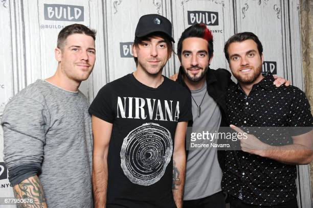 Zack Merrick Alex Gaskarth Jack Barakat and Rian Dawson of the music group All Time Low attend Build All Time Low to discuss their new album 'Last...