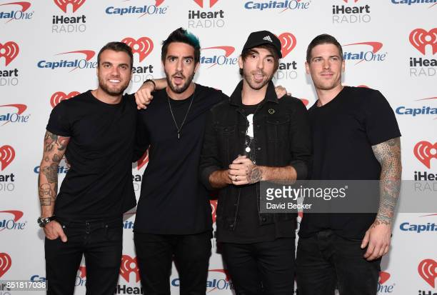 Zack Merrick Jack Barakat Alex Gaskarth and Rian Dawson of music group All Time Low attend the 2017 iHeartRadio Music Festival at TMobile Arena on...