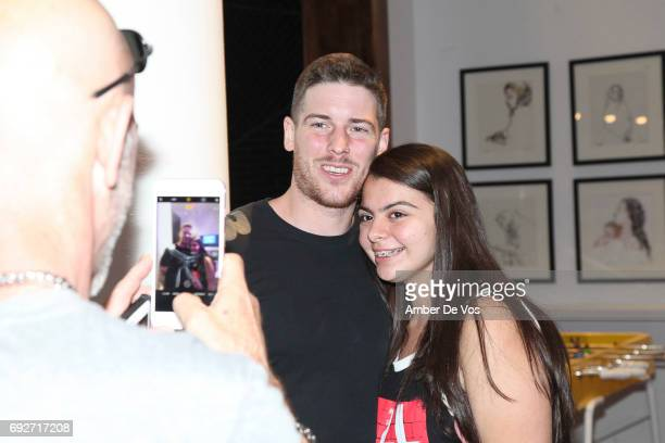 Zack Merrick of All Time Low and Super Fan attend Tumblr x All Time Low Fan Event at Tumblr HQ on June 2 2017 in New York City