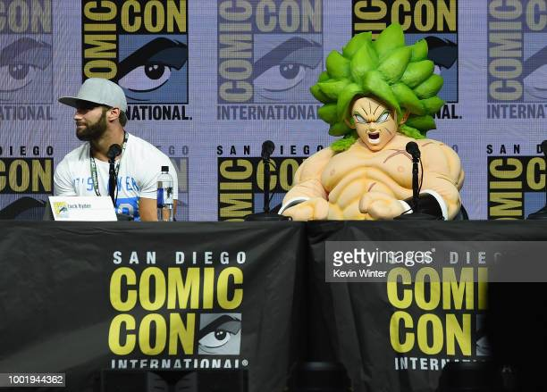 Zack Ryder and Dragon Ball Super Broly speak onstage during the Dragon Ball Super panel during ComicCon International 2018 at San Diego Convention...