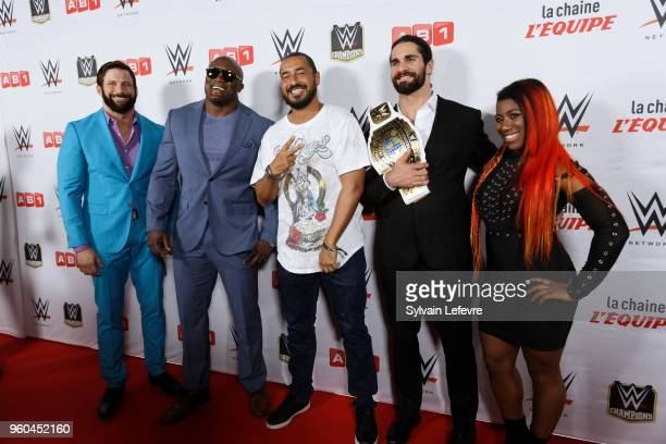Zack Ryder Bobby Lashley Moundir Zoughari Seth Rollins Ember Moon attend WWE Wrestling preshow on May 19 2018 in Paris France