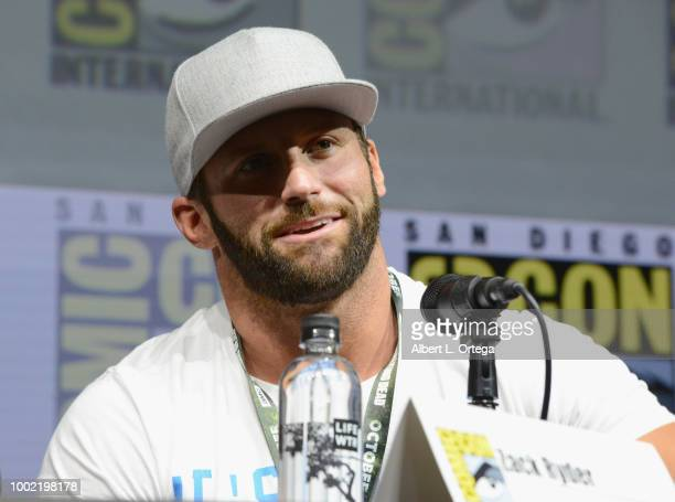 Zack Ryder speaks onstage during the Dragon Ball Super panel during ComicCon International 2018 at San Diego Convention Center on July 19 2018 in San...