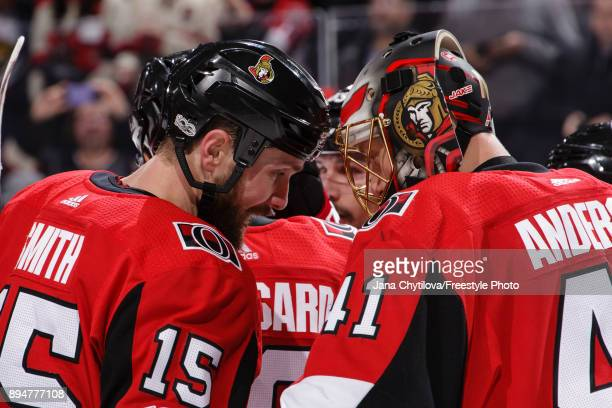 Zack Smith and Craig Anderson of the Ottawa Senators celebrate their win against the New York Rangers at Canadian Tire Centre on December 4 2017 in...