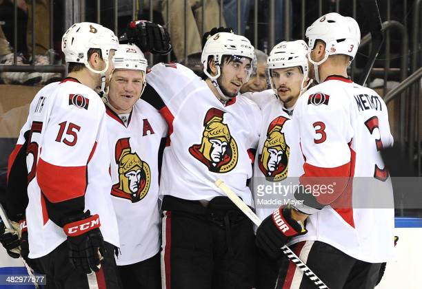 Zack Smith Chris Neil Mika Zibanejad Erik Karlsson and Marc Methot of the Ottawa Senators celebrate after Zibanejad scored the second goal against...