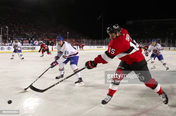 Zack Smith of the Ottawa Senators gets a shot off with pressure from Jakub Jerabek of the Montreal Canadiens during the 2017 Scotiabank NHL100...