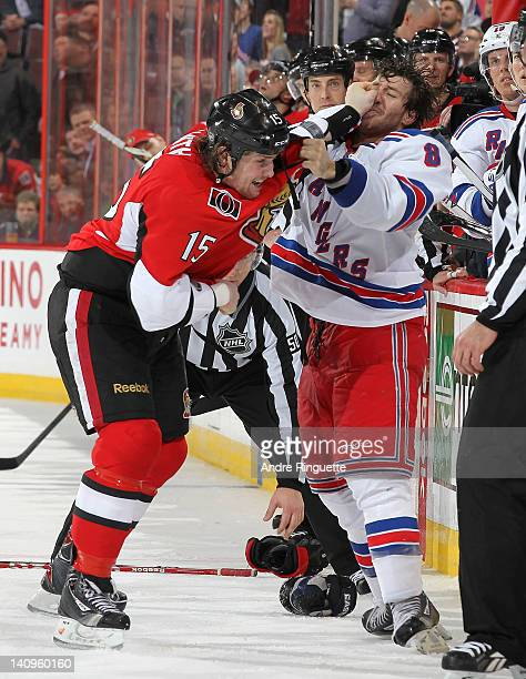 Zack Smith of the Ottawa Senators lands a punch in a fight with Brandon Prust of the New York Rangers at Scotiabank Place on March 8 2012 in Ottawa...