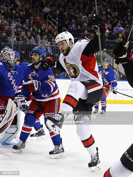 Zack Smith of the Ottawa Senators scores at 310 of the first period against the New York Rangers at Madison Square Garden on December 27 2016 in New...