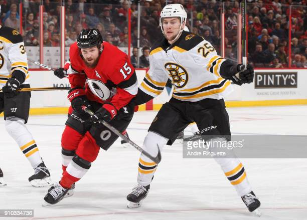 Zack Smith of the Ottawa Senators skates against Brandon Carlo of the Boston Bruins at Canadian Tire Centre on January 25 2018 in Ottawa Ontario...