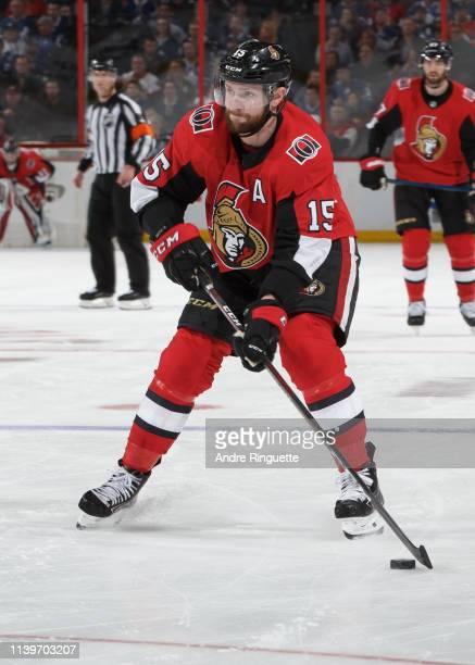 Zack Smith of the Ottawa Senators skates against the Toronto Maple Leafs at Canadian Tire Centre on March 30 2019 in Ottawa Ontario Canada