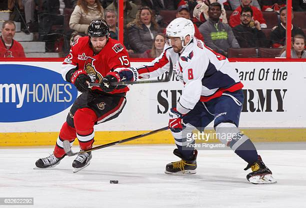 Zack Smith of the Ottawa Senators stickhandles the puck against Alex Ovechkin of the Washington Capitals at Canadian Tire Centre on January 24 2017...