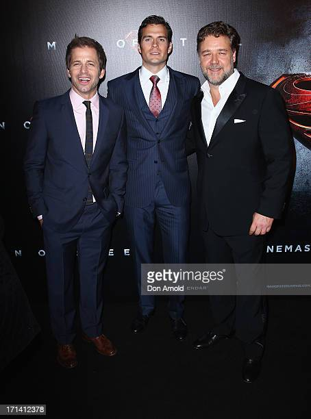 Zack Snyder Henry Cavill and Russell Crowe attend the 'Man Of Steel' Australian Premiere at Event Cinemas George Street on June 24 2013 in Sydney...