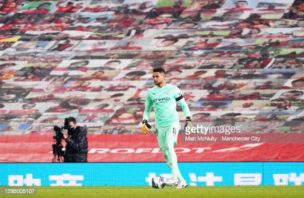 Zack Steffen of Manchester City during the Carabao Cup Semi Final match between Manchester United and Manchester City at Old Trafford on January 06,...