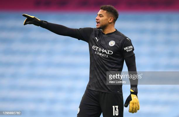 Zack Steffen of Manchester City during the FA Cup Third Round match between Manchester City and Birmingham City on January 10, 2021 in Manchester,...