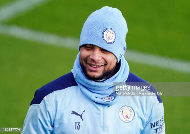 Zack Steffen of Manchester City in action during a training session at Manchester City Football Academy on February 09, 2021 in Manchester, England.