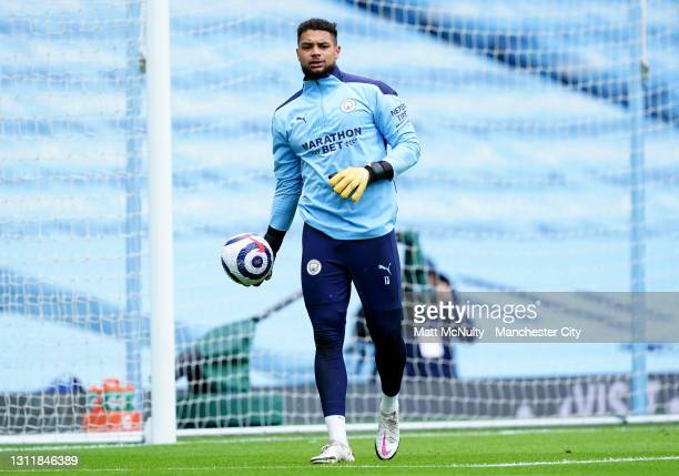 Zack Steffen of Manchester City in action during the Premier League match between Manchester City and Leeds United at Etihad Stadium on April 10,...