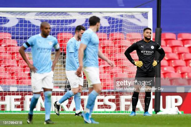 Zack Steffen of Manchester City looks dejected after conceding during the Semi Final of the Emirates FA Cup match between Manchester City and Chelsea...