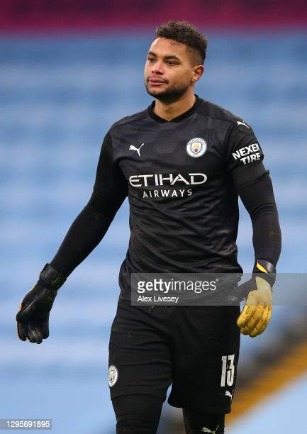 Zack Steffen of Manchester City looks on during the FA Cup Third Round match between Manchester City and Birmingham City on January 10, 2021 in...