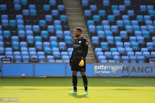 Zack Steffen of Manchester City looks on during the pre-season friendly match between Manchester City and Blackpool at Manchester City Football...