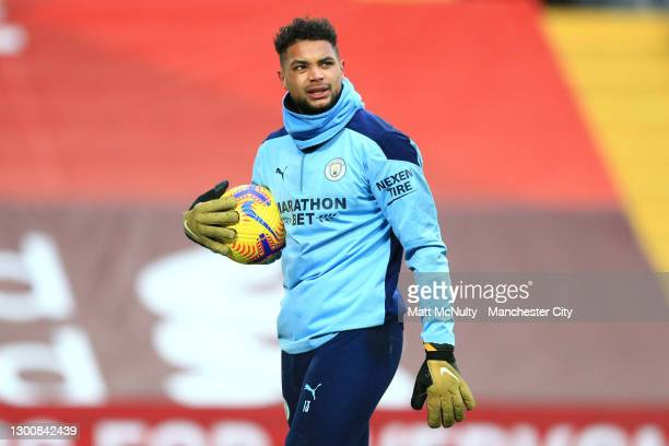 Zack Steffen of Manchester City looks on during the warm up prior to the Premier League match between Liverpool and Manchester City at Anfield on...