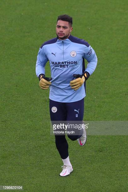 Zack Steffen of Manchester City warms up prior to the FA Cup Third Round match between Manchester City and Birmingham City at Etihad Stadium on...