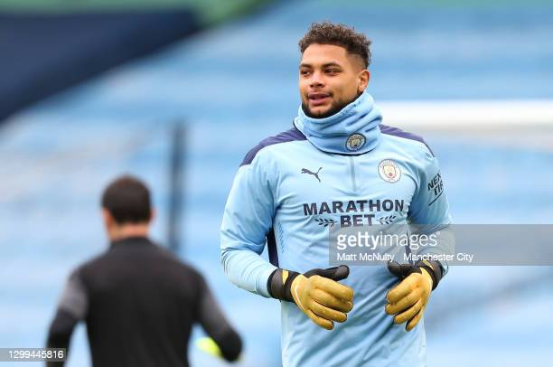 Zack Steffen of Manchester City warms up prior to the Premier League match between Manchester City and Sheffield United at Etihad Stadium on January...