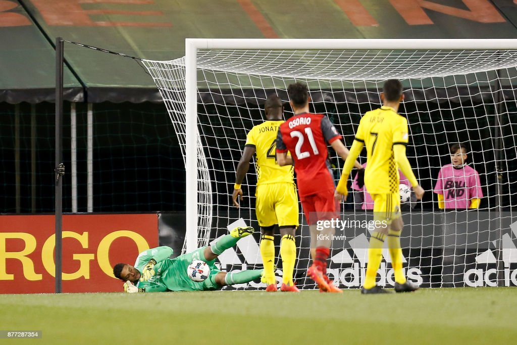 Zack Steffen #23 of the Columbus Crew SC makes a save during the first half of the match against the Toronto FC at MAPFRE Stadium on November 21, 2017 in Columbus, Ohio.