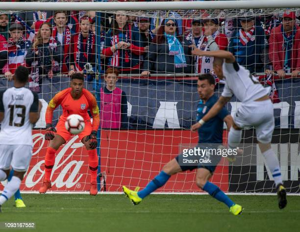 Zack Steffen of the United States watches a shot during the international friendly match between the United States and Costa Rica at Avaya Stadium on...