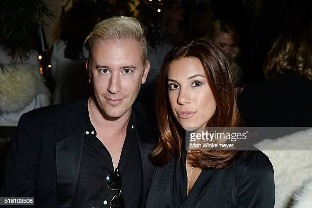 Zack Tanck and blogger Devin Brugman attend the Bollare 10 Year Anniversary Dinner Celebration at Palihouse West Hollywood on March 29 2016 in West...
