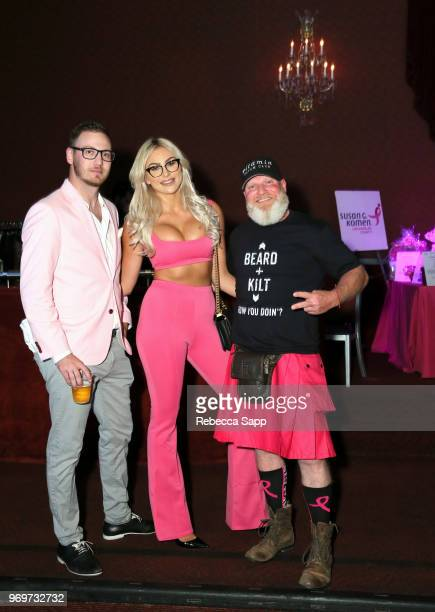 Zack Teperman Khloe Terae and Shane Griffin attend Babes for Boobs Live Auction Benefiting Susan G Komen LA at El Rey Theatre on June 7 2018 in Los...