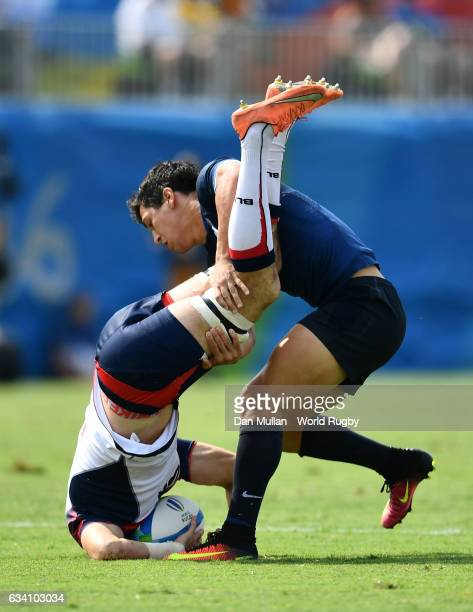 Zack Test of the United States is tackled by Matias Moroni of Argentina resulting in a yellow card during the Men's Rugby Sevens Pool A match between...